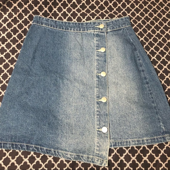 MinkPink Denim Jean Button Asymmetrical Mini Skirt